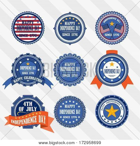 Vector set vintage lables of Independence day.Vector labels of 4th of July Independence day.