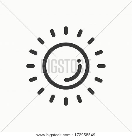 Sun line simple icon. Weather symbols. Meteorology. Forecast design element. Template for mobile app, web and widgets.Vector style linear icon. Illustration. Flat sunlight, sign. Logo