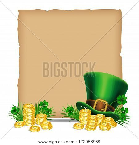 St.Patrick's Day backdrop. Old paper and leprechaun hat with golden coins and green ribbon. Vector illustration