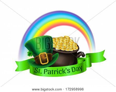 St.Patrick's Day logo. Pot Of Gold rainbow and green leprechaun hat with ribbon. Vector illustration