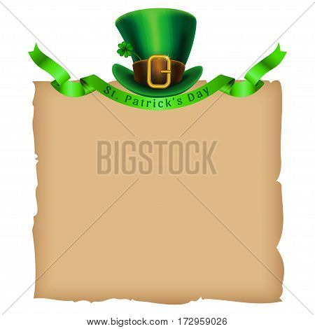 St.Patrick's Day template. Old paper and leprechaun hat with green ribbon. Vector illustration