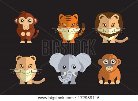 vector illustration of a cute exotic wild animals on a dark background.