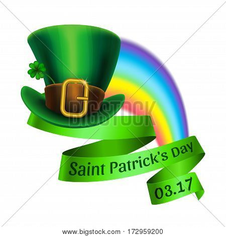 St.Patrick's Day logo. Rainbow and green leprechaun hat with ribbon. Vector illustration