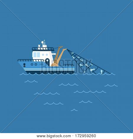 vector illustration of a fishing boat, fishing ship with a catch in the network sails on the sea.