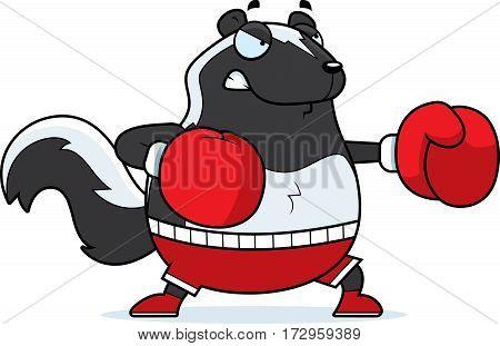 Cartoon Skunk Boxing