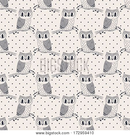 Seamless pattern with cute hand drawn owls and polka dots. Vector background in black and white colors.