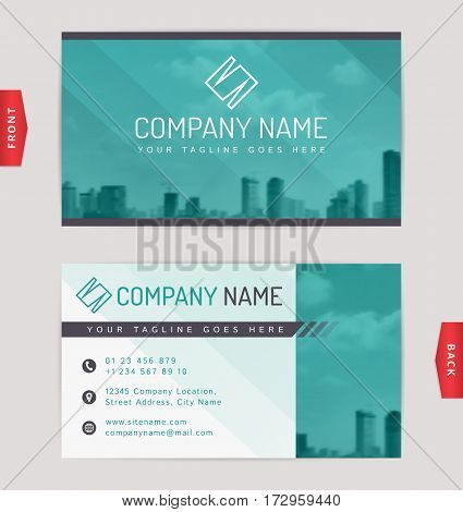 Business card design with blurred cityscape background. Vector template.