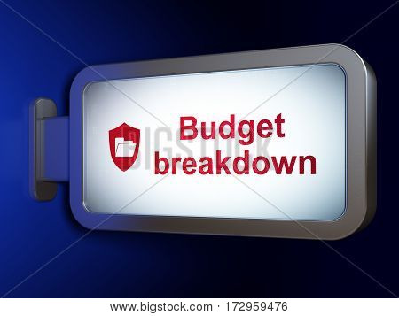 Finance concept: Budget Breakdown and Folder With Shield on advertising billboard background, 3D rendering