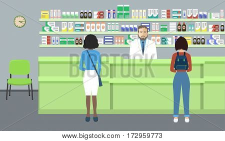 Web banner of a pharmacist. Young man in the workplace in a pharmacy: standing in front of shelves with medicines. Indoor pharmacies are also visitors. Vector illustration