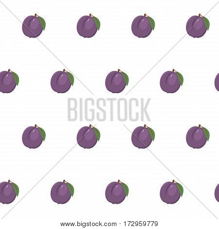 Seamless pattern with plums on a white background. It can be used for packing of gifts, tiles fabrics backgrounds. Raster copy.