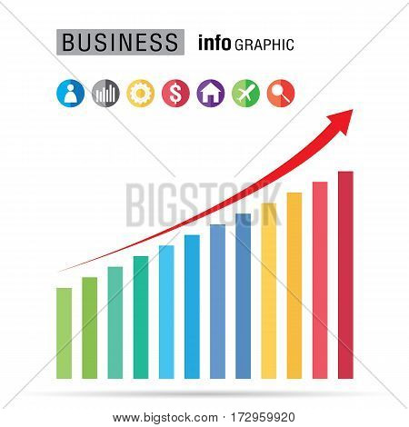 Business bar percentage chart info graphic set on white background.