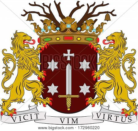 Coat of arms of Haarlem is a city and municipality in the Netherlands. Vector illustration