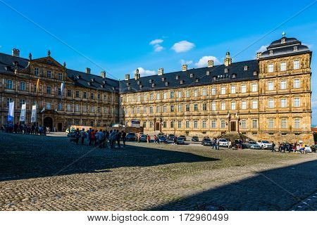 BAMBERG, GERMANY - Circa September, 2016: Historic Facade of the Neue Residenz (New residence) in Bamberg, Germany