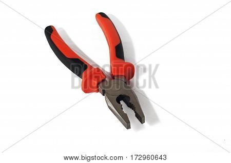 Red pliers isolated on white background.Instrument, tool