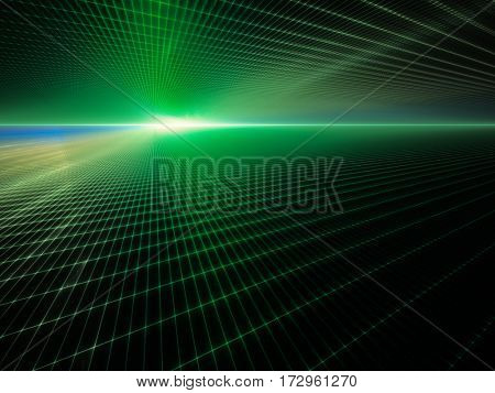 Abstract background element. Grid planes perspective. Retro sci fi style. Time and space concept. Green and black colors.