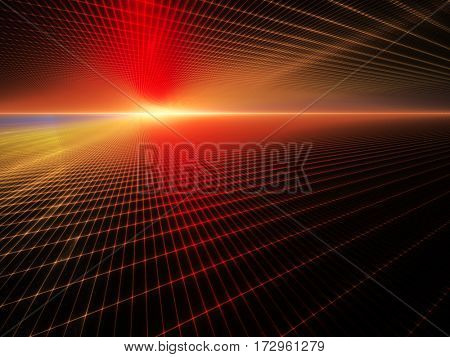 Abstract background element. Grid planes perspective. Retro sci fi style. Time and space concept. Red and yellow colors on black.