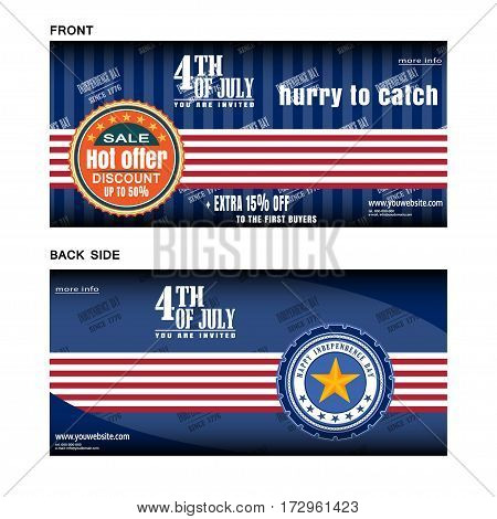 Vector layout poster for sale on the Independence Day front and back side. Banners of Independence Day sale.