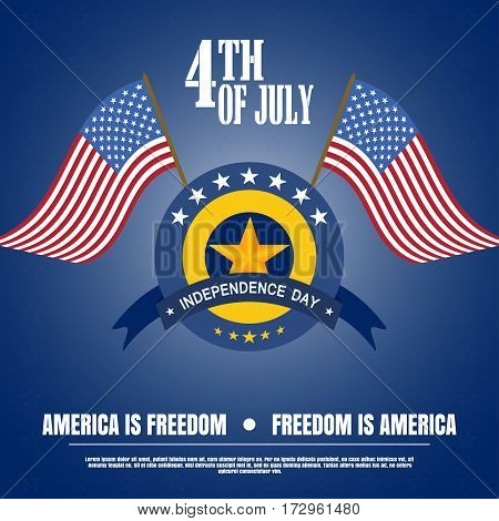 Vector illustration of Independence Day with badge flags stripe and star on a dark blue background. Vector illustration of Independence Day - America is freedom happy celebration.