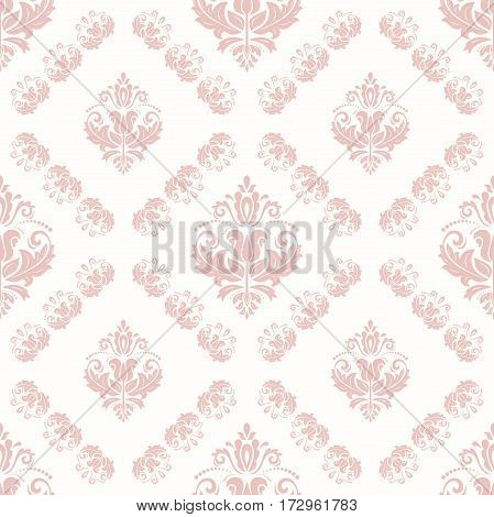 Seamless damask pattern. Traditional classic orient ornament. Pink and white pattern