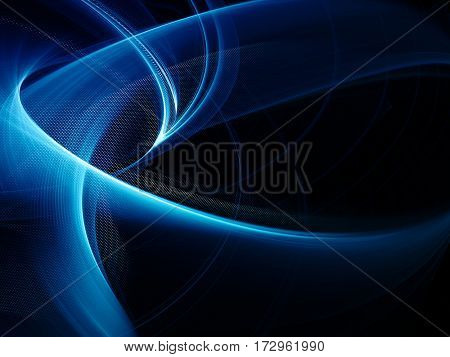 Abstract background element. Fractal graphics. Composition of curves and mosaic halftone effects. Blue and black colors.