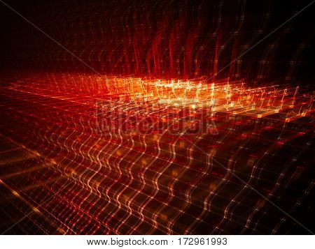 Abstract background element. Fractal graphics series. Three-dimensional composition of repeating grids. Information technology concept. Red and black colors.