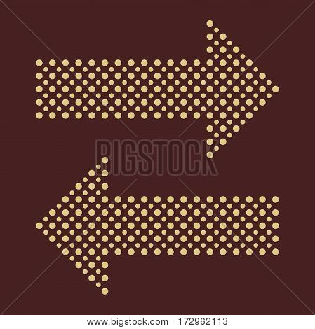 Fine dotted arrows. Elements for web, infographic and diagrams. Brown and golden colors
