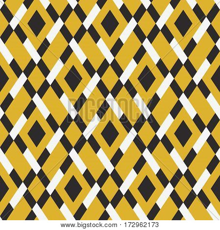 Vector geometric seamless argyle pattern with lines and tiles in bright yellow, white, and black. Modern bold print with diamond shape for fall winter fashion. Vintage plaid background in retro style