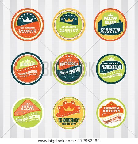 Vintage labels for commerce and premium trade vector set with stitching. Retro badges vector set for internet commerce with stitching. Vector set of labels for promotion premium goods.