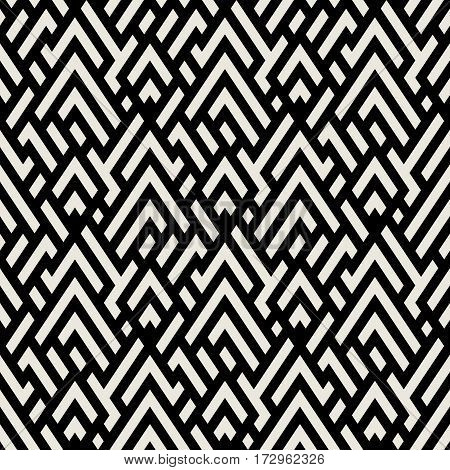 Abstract geometric pattern with maze, diagonal overlapping stripes and crossing lines in black and white. Op art seamless geometric background. Simple monochrome bold print for winter fall fashion