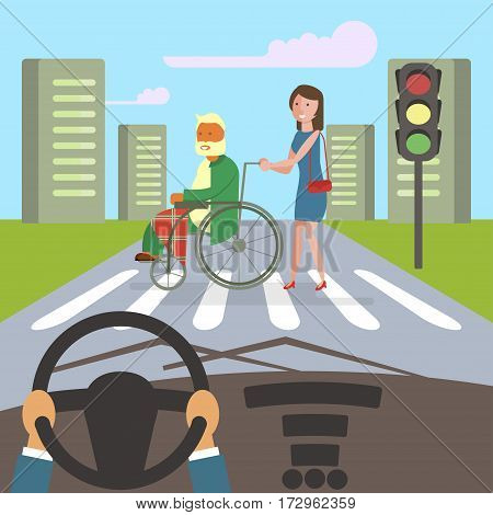 Girl carries an old man in a wheelchair disabled crossing the roadway. Flat style cartoon vector illustration with isolated characters on big town background. Vector illustration eps 10