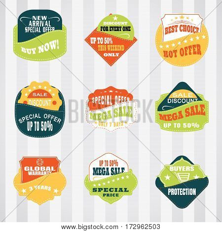 Vintage labels set for commerce and premium trade with stitching in pockets. Retro badges vector set for internet commerce with stitching in pockets.