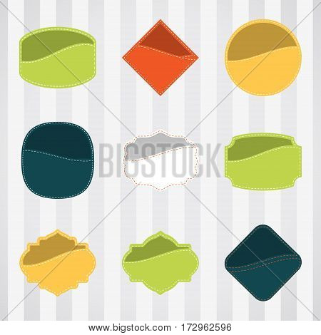 Vintage empty labels set for commerce and premium trade with stitching in pockets. Retro empty badges vector set for internet commerce with stitching in pockets.