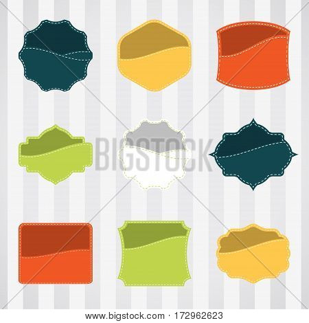 Vintage empty labels set for commerce trade with stitching in pockets. Retro empty badges vector set for internet commerce with stitching in pockets. Vector set of empty labels for promotion.