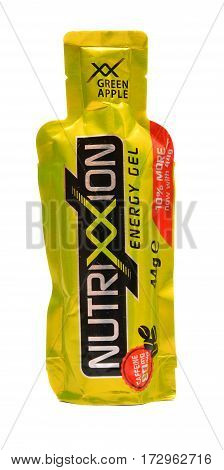 Caransebes Romania - October 26 2015: A Nutrixxion energy gel isolated on white vitamin complex used by athletes in triathlon running marathon mountain-bike and race bike competitions