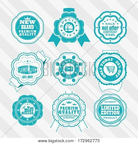 Vintage turquoise and white labels vector set for website. Vector set of turquoise and white labels for promotion.