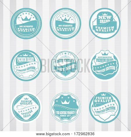 Vintage turquoise stamps vector set for advertising premium product. Vector set of turquoise stamps for website.