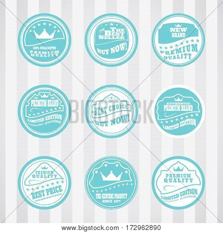 Vintage light turquoise stamps vector set for advertising premium product. Vector set of light turquoise stamps for web sale.