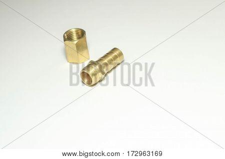 Штуцер латунный под шланг с муфтой, с диаметром резьбы 1/4