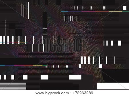 Glitched lines and rectangular shapes. data collapsing. Abstract glitch background illustration.
