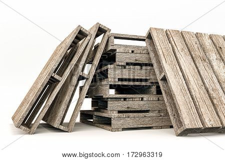 3d illustration of wooden pallets isolated on white background