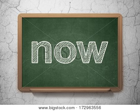 Time concept: text Now on Green chalkboard on grunge wall background, 3D rendering