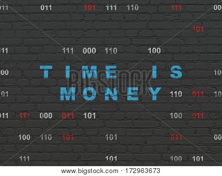Timeline concept: Painted blue text Time is Money on Black Brick wall background with Binary Code