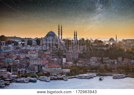 The historic center of Istanbul at sunset. Golden Horn, Turkey