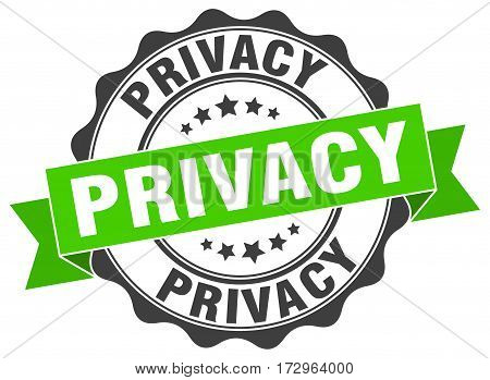 privacy. stamp. sign. seal. round. retro. ribbon