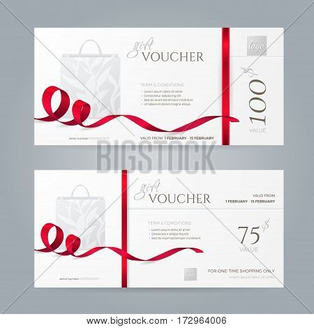 Set of stylish gift vouchers with red ribbons and paper shopping bag. Vector template for gift card, coupon and certificate. Isolated from the background.