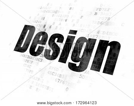 Advertising concept: Pixelated black text Design on Digital background