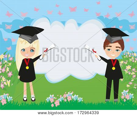 School College Graduation Cartoon , vector illustration