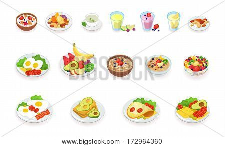 Muesli, cereal, fruits and berries, nuts, eggs, omelet, avocado, smoothie drinks sandwich vector illustration set Healthy breakfast food icons collection