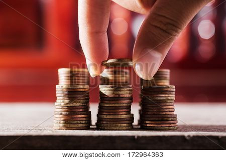 Rows of coins and account for finance and banking concept Money coin stack growing business