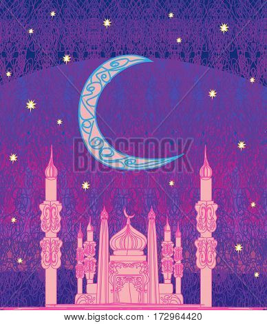 Ramadan background - mosque illustration card vector